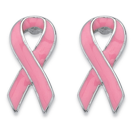 Pink Breast Cancer Awareness Ribbon Earrings in Silvertone and Enamel at PalmBeach Jewelry