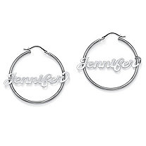 "Personalized Name Script Hoop Earrings in Sterling Silver (1 3/4"")"