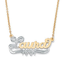 "Personalized Double-Heart Nameplate Necklace 18"" in Solid 10k Yellow Gold with Rhodium-Plated Accents 18"""
