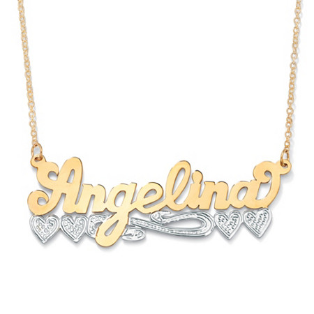 "Two-Tone Personalized Heart Nameplate Necklace in Solid 10k Yellow Gold with Rhodium-Plated Accents 18"" at PalmBeach Jewelry"