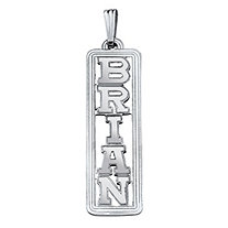 Personalized Vertical Name Pendant in Sterling Silver 2""