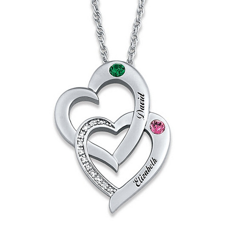 Round Diamond Accent and Birthstone Interlocking Hearts Personalized Necklace in Silvertone 20