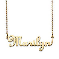 Personalized Script Nameplate Necklace in 10k Yellow Gold 18