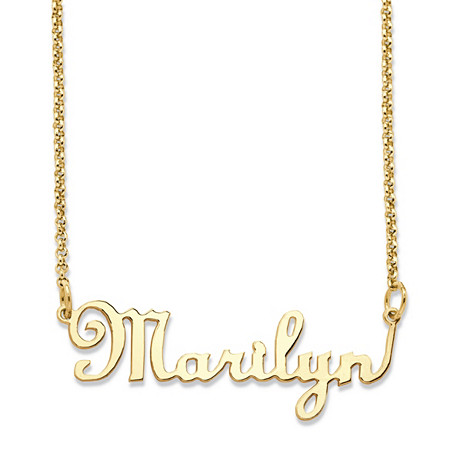 "Personalized Script Nameplate Necklace in 14k Gold over Sterling Silver 18"" at PalmBeach Jewelry"