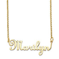 Personalized Script Nameplate Necklace in 14k Gold over Sterling Silver 18