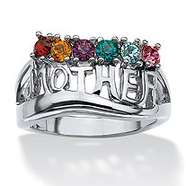 "Round Birthstone ""Mother"" Ring in Silvertone"