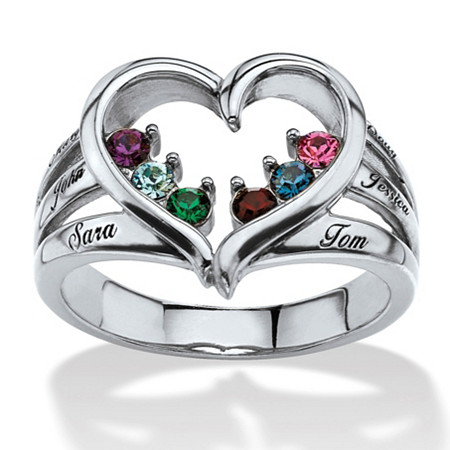 Round Birthstone and Name Personalized Open Heart Family Ring in Silvertone at PalmBeach Jewelry