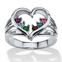 Round Simulated Birthstone and Name Personalized Open Heart Family Ring in Silvertone