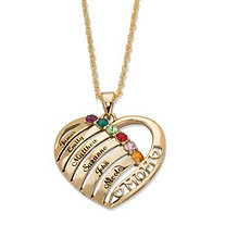 "Round Simulated Birthstone Personalized ""Mom"" Necklace 18k Gold-Plated 20"""
