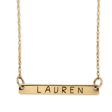 Personalized ID Name Bar Necklace in Gold Tone over Sterling Silver 18