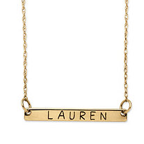 Personalized ID Name Bar Necklace in Gold Tone over Sterling Silver 18""