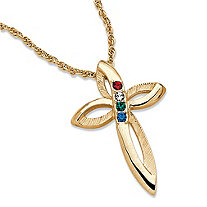 Simulated Birthstone Textured Looping Cross Pendant Necklace in Gold Tone 20""
