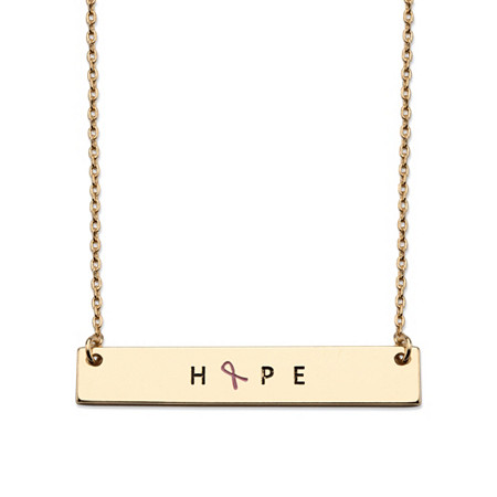 "Rectangle Pink Ribbon HOPE Breast Cancer Awareness Plate Necklace in Gold Tone 16""-18"" at PalmBeach Jewelry"
