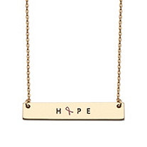 "Rectangle Pink Ribbon HOPE Breast Cancer Awareness Plate Necklace in Gold Tone 16""-18"""