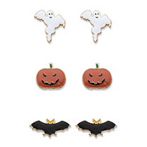 Halloween Ghost, Pumpkin and Bat 3-Pair Set of Earrings in Gold Tone