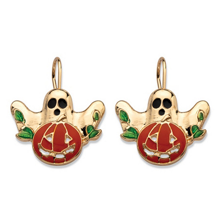 Halloween Ghost and Pumpkin Earrings in Enamel and Gold Tone at PalmBeach Jewelry