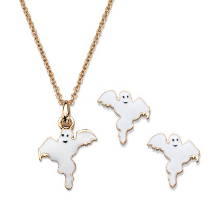 Halloween 2-Piece Set Ghost Pendant Necklace and Earrings in White Enamel and Gold Tone 16