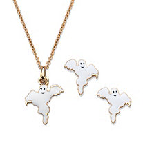 "Halloween 2-Piece Set Ghost Pendant Necklace and Earrings in White Enamel and Gold Tone 16""-18"""