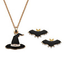 "Halloween 2-Piece Set Witches Hat Pendant Necklace and Bat Earrings in Black Enamel and Gold Tone 16""-18"""