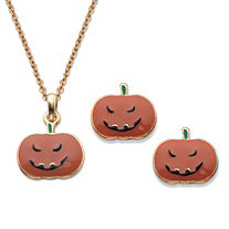 "Halloween 2-Piece Set Pumpkin Pendant Necklace and Earrings in Gold Tone 16""-18"""