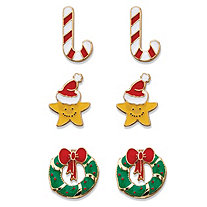Multicolor Enamel 3-Pair Christmas Holiday Stud Earring Set in Gold Tone
