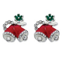 Round Crystal And Red Enamel Christmas Bell Holiday Drop Earrings $8.99