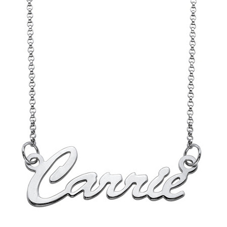 "Polished Script Nameplate Necklace in Sterling Silver 18"" at PalmBeach Jewelry"