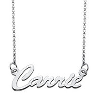 SETA JEWELRY Polished Script Nameplate Necklace in Sterling Silver 18