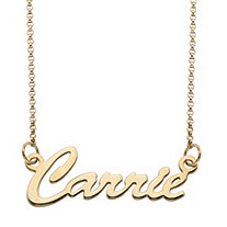 Polished Script Nameplate Necklace in 18k Gold over Sterling Silver 18""