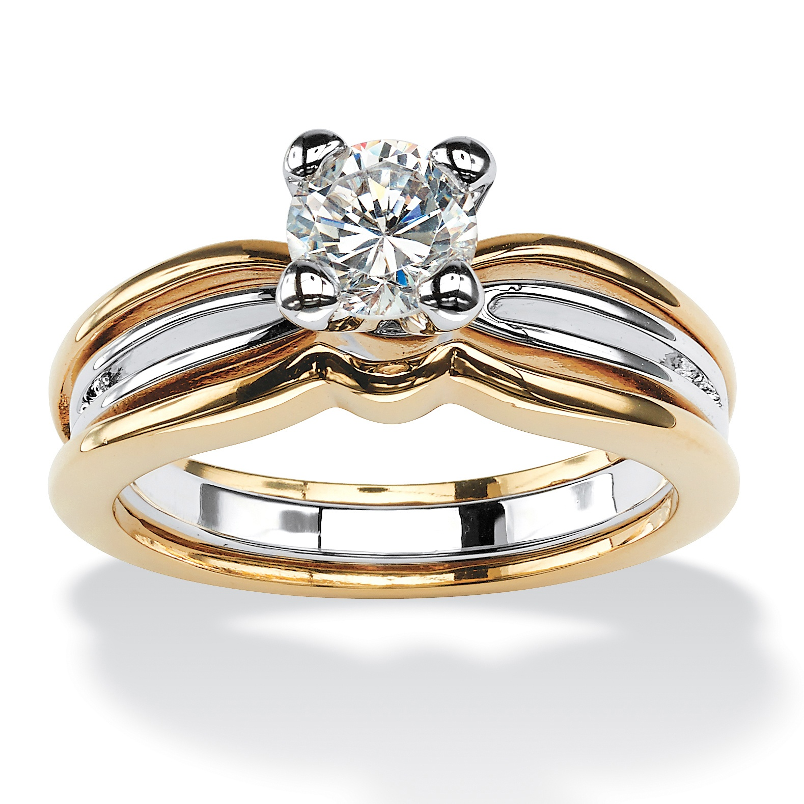 20993c314 1 TCW Round Cubic Zirconia Solitaire Engagement Ring in 18k Gold-Plated
