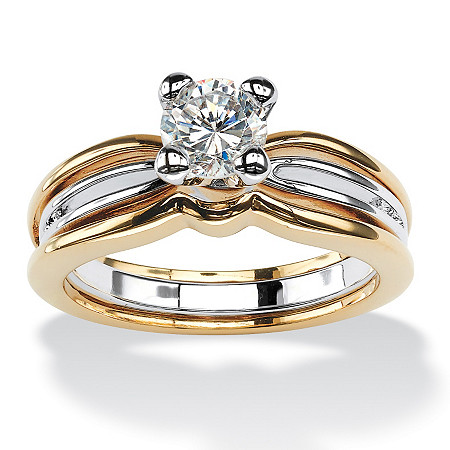 1 TCW Round Cubic Zirconia Solitaire Engagement Ring in 18k Gold-Plated at PalmBeach Jewelry