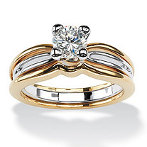 SETA JEWELRY 1 TCW Round Cubic Zirconia Solitaire Engagement Ring in 18k Gold-Plated