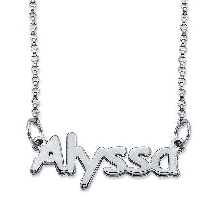 "Polished Nameplate Necklace in Sterling Silver 18"" at PalmBeach Jewelry"