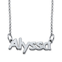 Polished Nameplate Necklace in Sterling Silver 18""