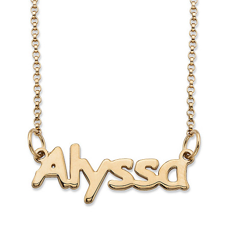 "Polished Nameplate Necklace in 14k Yellow Gold Over Sterling Silver 18"" at PalmBeach Jewelry"