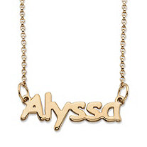 SETA JEWELRY  Polished Nameplate Necklace in 14k Yellow Gold Over Sterling Silver 18