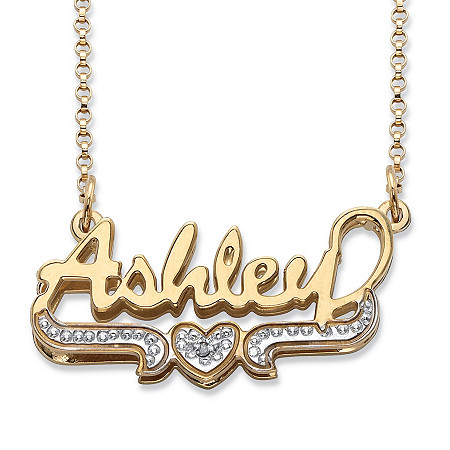 "Diamond Accent Heart Nameplate Necklace in 18k Gold over Sterling Silver 18"" at PalmBeach Jewelry"