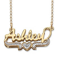 Diamond Accent Heart Nameplate Necklace in 18k Gold over Sterling Silver 18""