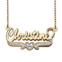 Diamond Accent Two-Tone Heart and Scroll Nameplate Necklace in 18k Yellow Gold Over Sterling Silver 20""