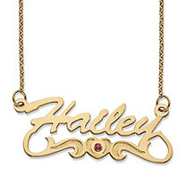 Simulated Birthstone Cubic Zirconia Heart and Scroll Nameplate Necklace in 14k Gold over Sterling Silver 18