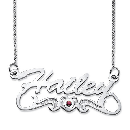 "Round Birthstone Heart and Scroll Nameplate Necklace in Sterling Silver 18"" at PalmBeach Jewelry"