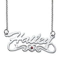 Round Simulated Birthstone Heart and Scroll Nameplate Necklace in Sterling Silver 18""