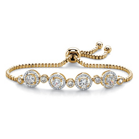 Round Cubic Zirconia Adjustable Halo Slider Bracelet 2.92 TCW 14k Yellow Gold-Plated 9