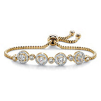 Round Cubic Zirconia Adjustable Halo Slider Bracelet 2.92 TCW 14k Yellow Gold-Plated 9""