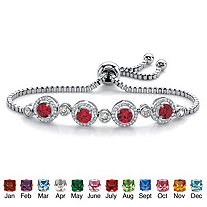 Round Birthstone and Cubic Zirconia Adjustable Halo Slider Bracelet .92 TCW Platinum-Plated 9""