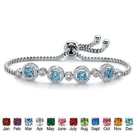 Round Birthstone and Cubic Zirconia Adjustable Halo Slider Bracelet .92 TCW Platinum-Plated 9