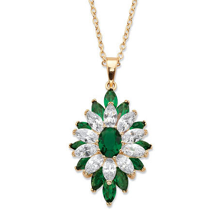 Oval and Marquise-Cut Simulated Emerald and Cubic Zirconia Floral Pendant 3.50 TCW 14k Yellow Gold-Plated 18