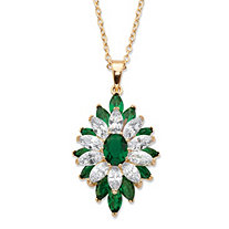 "Oval and Marquise-Cut Simulated Emerald and Cubic Zirconia Floral Pendant 3.50 TCW 14k Yellow Gold-Plated 18""-20"""