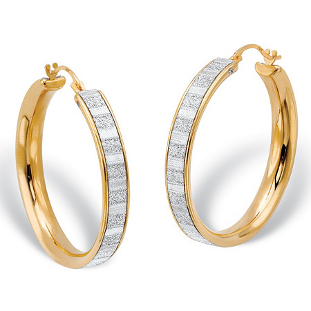 "Glittered Hoop Earrings in Textured Hollow 14k Yellow Gold (1"") at PalmBeach Jewelry"
