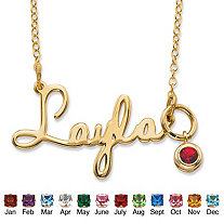Round Birthstone Charm Nameplate Necklace in 14k Yellow Gold Over Sterling Silver 19""